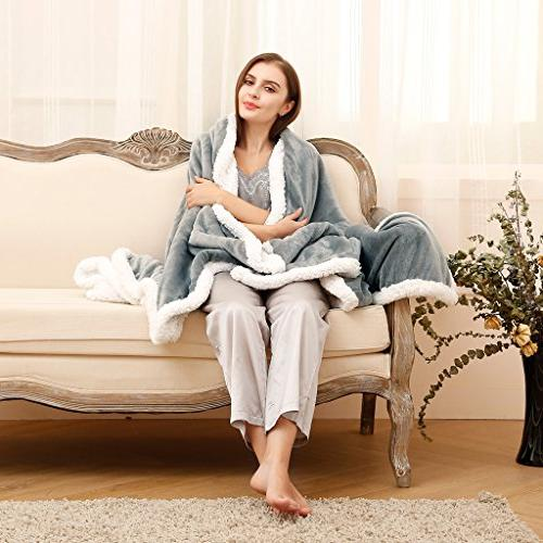 LANGRIA Sherpa Flannel Fleece Reversible Lightweight All Seasons Comfort for Couch Sofa Care