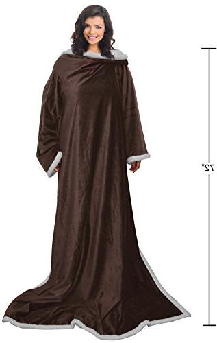 Napa Lounging Soft Warm Sherpa Throw Adult Wearable TV Blanket Sleeves - Brown