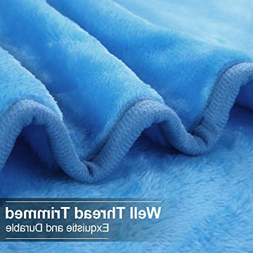 EASELAND Luxury Super Cooling Warm Fuzzy Microplush Lightweight Thermal Fleece Blankets for by Inches,Sky