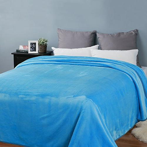 EASELAND Soft Queen Size Cooling Microplush Lightweight Fleece for by 90 Blue