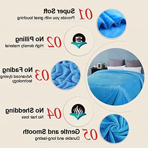 EASELAND Queen Cooling Lightweight Thermal Fleece by 90 Inches,Sky Blue