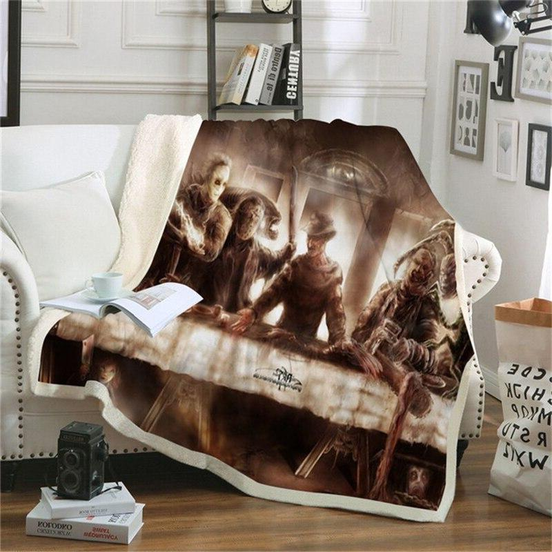 Movie Pennywise Couch Cover Travel <font><b>Bedding</b></font> <font><b>Fleece</b></font> Thick Tapestry