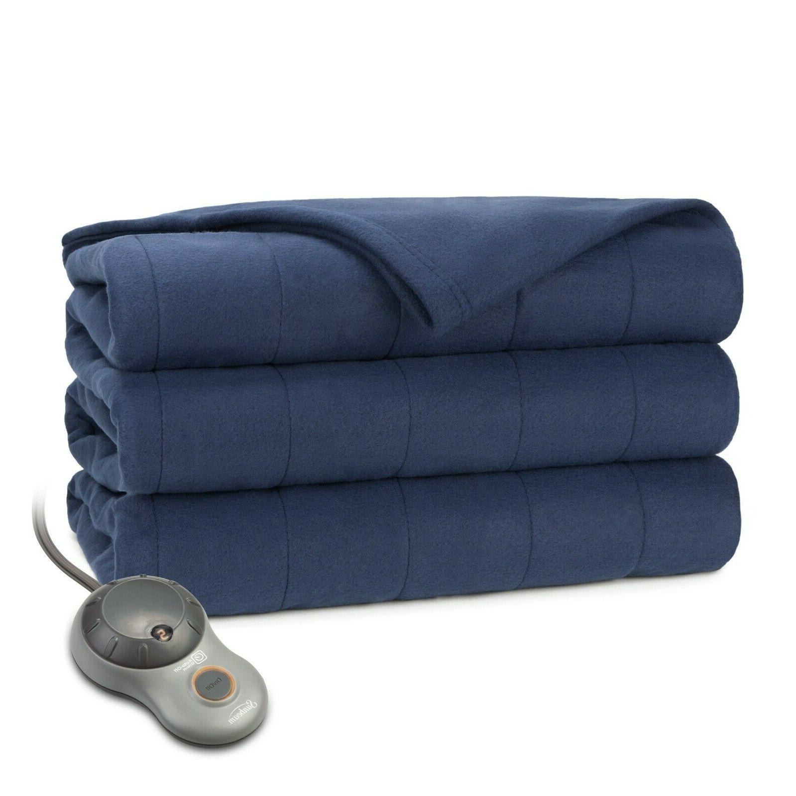 new quilted fleece heated blanket w dual