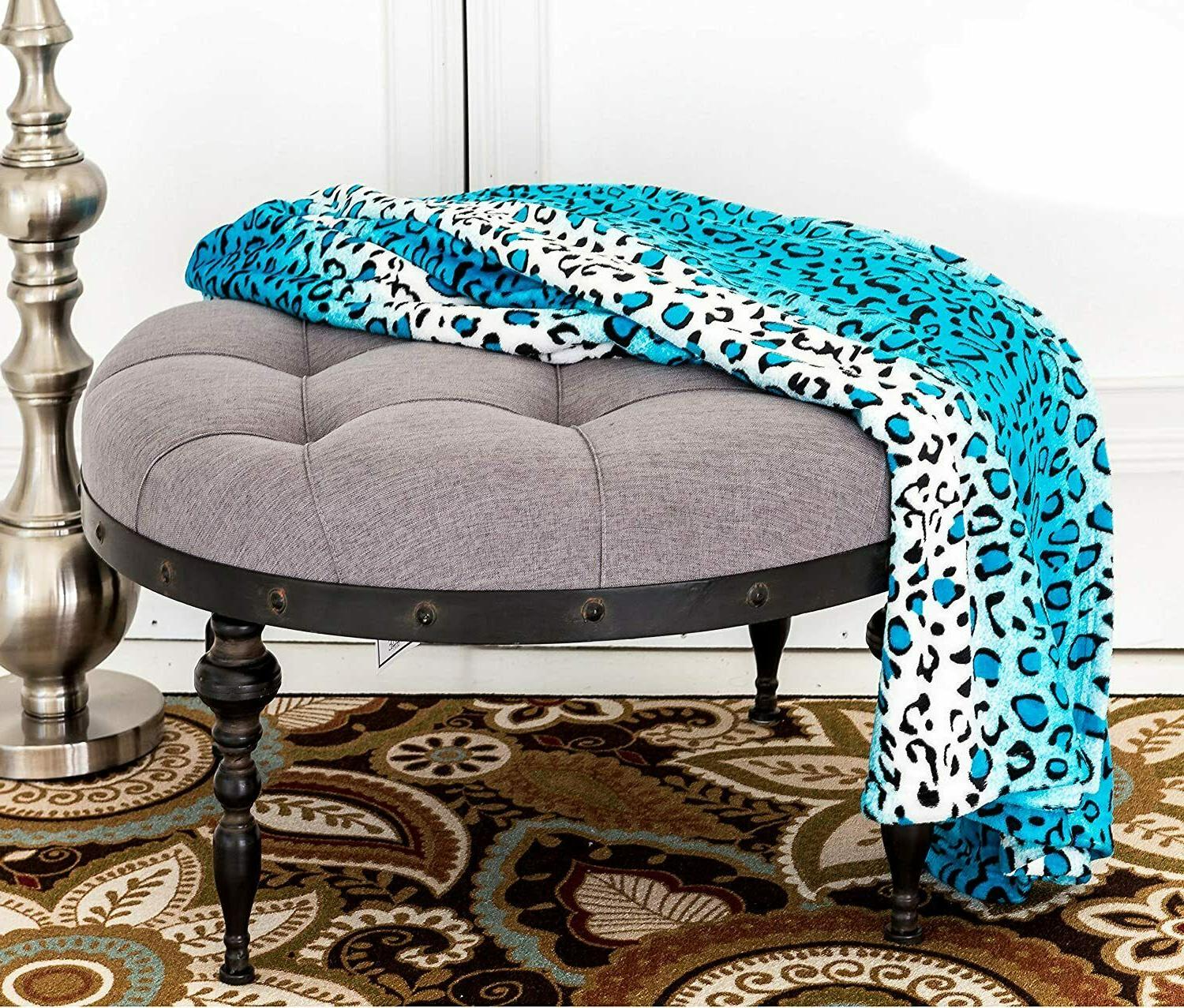 New Soft Warm Throw Turquoise Leopard Printed Flannel Fleece