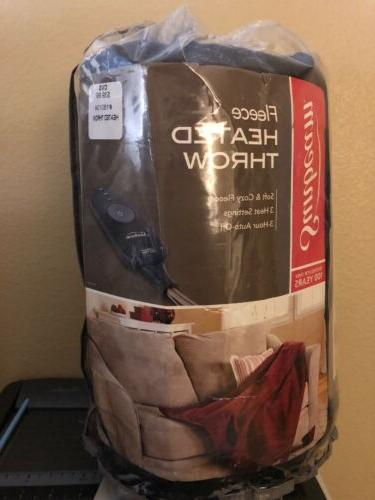 nwt electric heated fleece throw red black