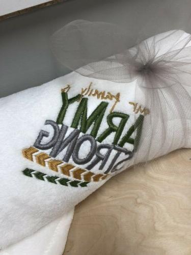 our family is arm strong embroidered throw