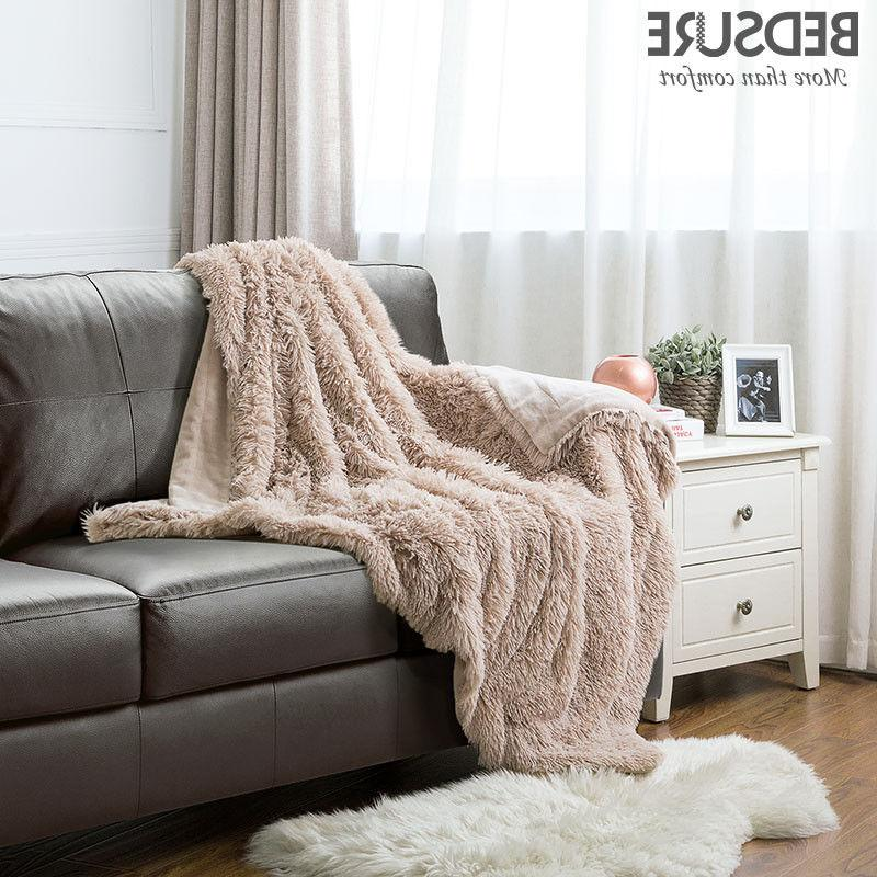 plush faux fur reversible fleece blanket throw