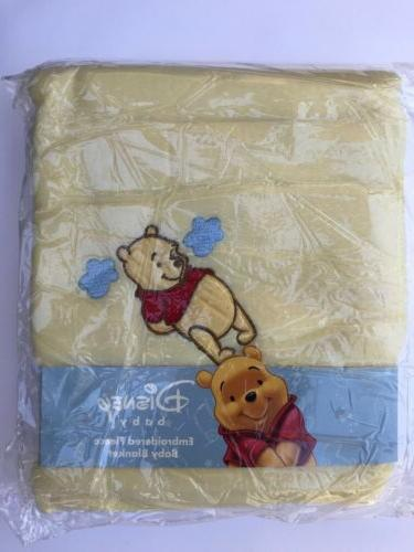 "Pooh Embroidered Baby Fleece Blanket  30""x40"" Pink Yellow Wh"
