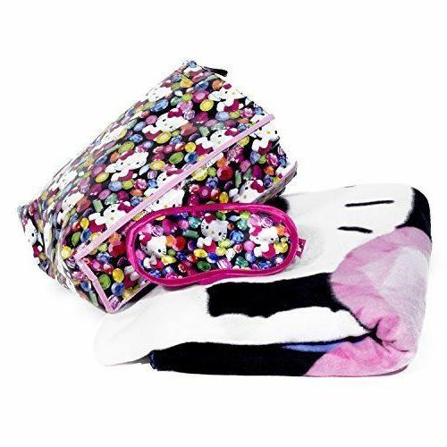Hello Kitty Printed Fleece Blanket Throw Eye Mask & Tote Com