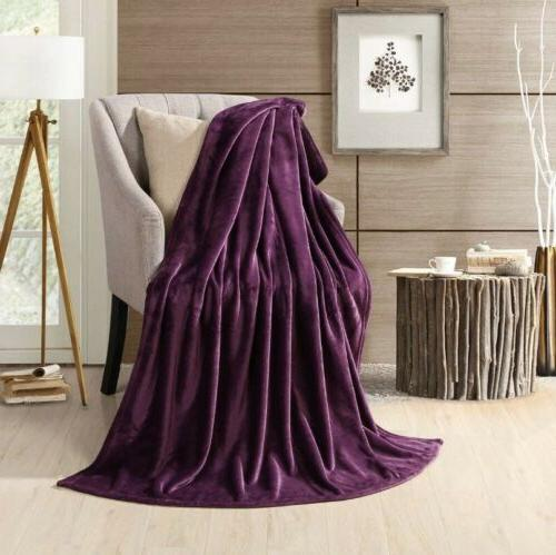 purple velvet fleece lightweight throw blanket 50