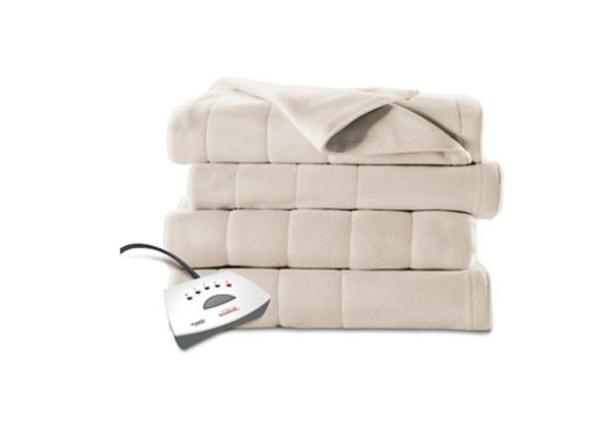 queen size electric heated fleece channeled blanket