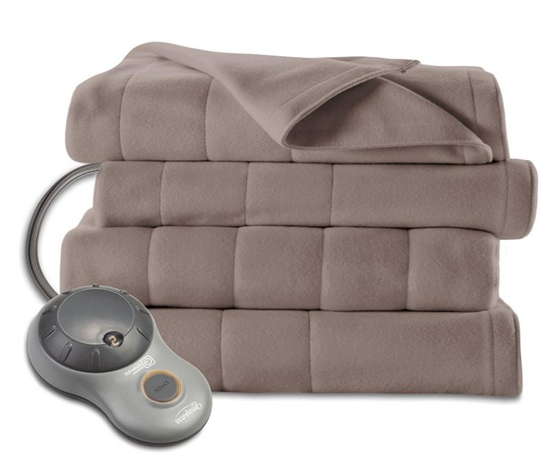 quilted fleece heated electric blanket full size