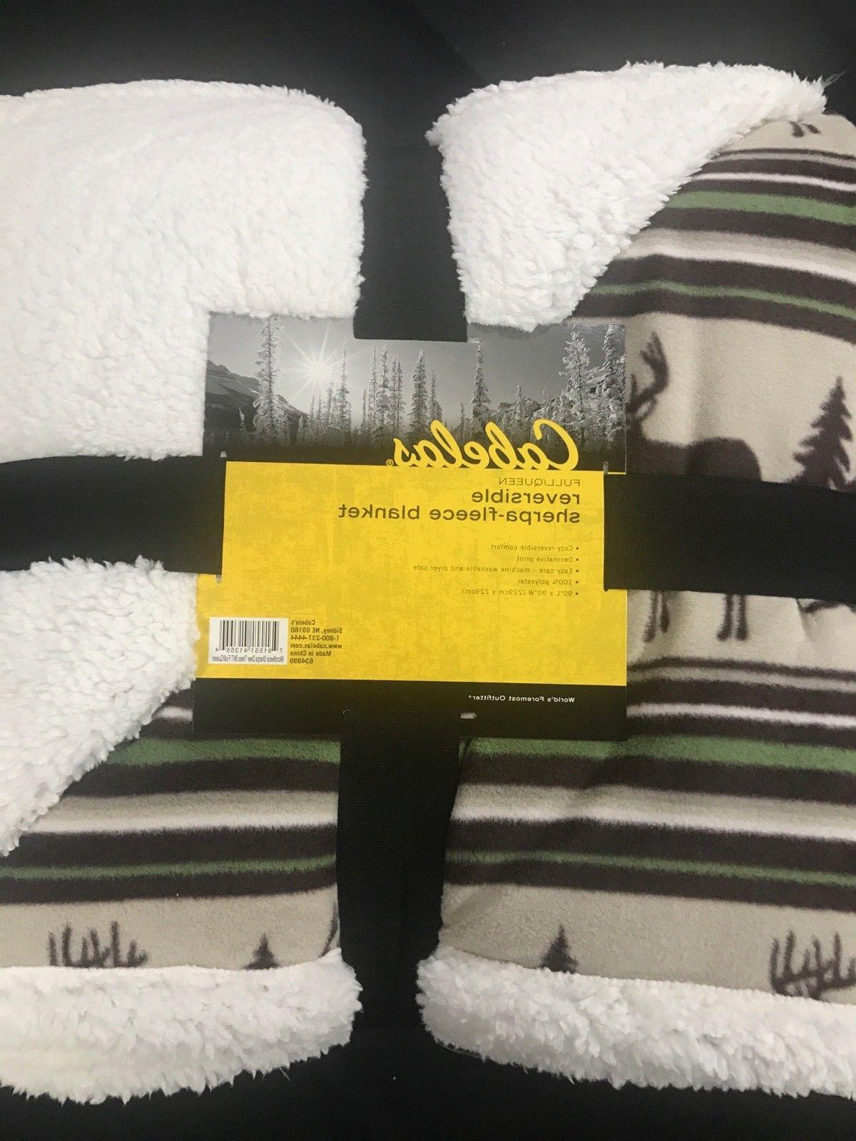 CABELA'S REVERSIBLE SHERPA-FLEECE BLANKET - FULL / QUEEN - D