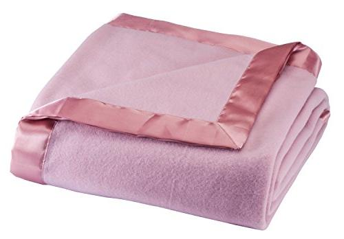 Fleece Blanket with Satin Trim, Twin Size, Pink