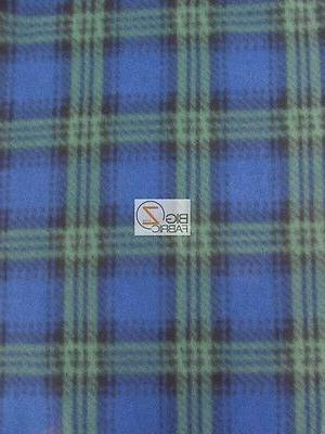 SCOT CHECKERED GREEN FLEECE POLAR PRINTED FABRIC BY THE YARD