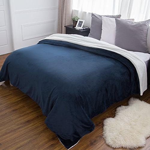 sherpa throw blanket navy blue