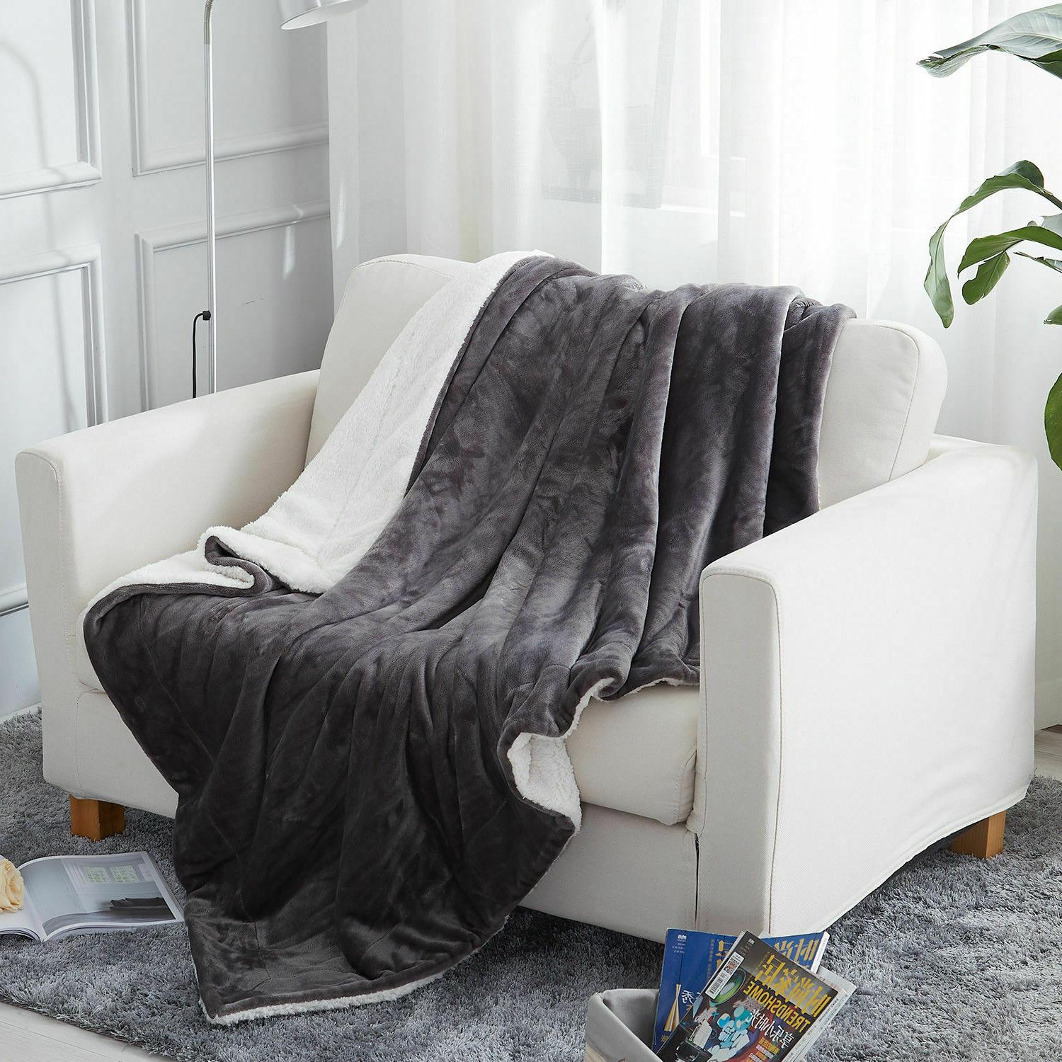 Sherpa Throw Fuzzy Bed Blanket for Sofa
