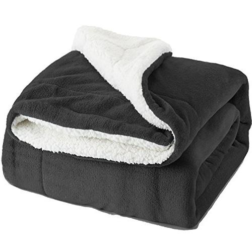 sherpa bed blanket charcoal queen