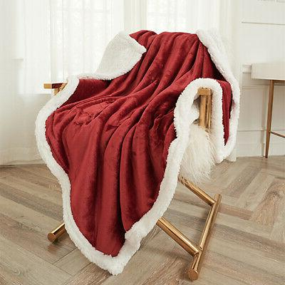 Sherpa Blanket Plush Fabric Warm Thickened Queen