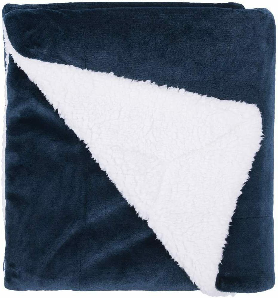 Sherpa Fleece Size Navy Blue Throw