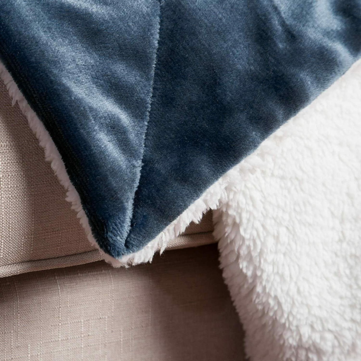 Sherpa Size Navy Throw Soft