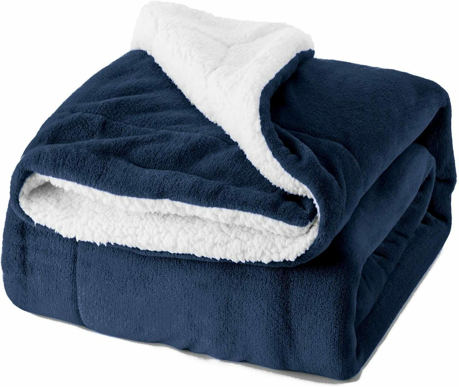 sherpa fleece blanket throw size navy blue