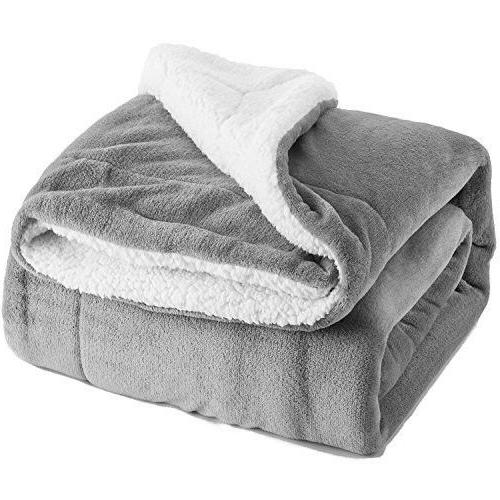 sherpa fleece blanket twin size grey plush