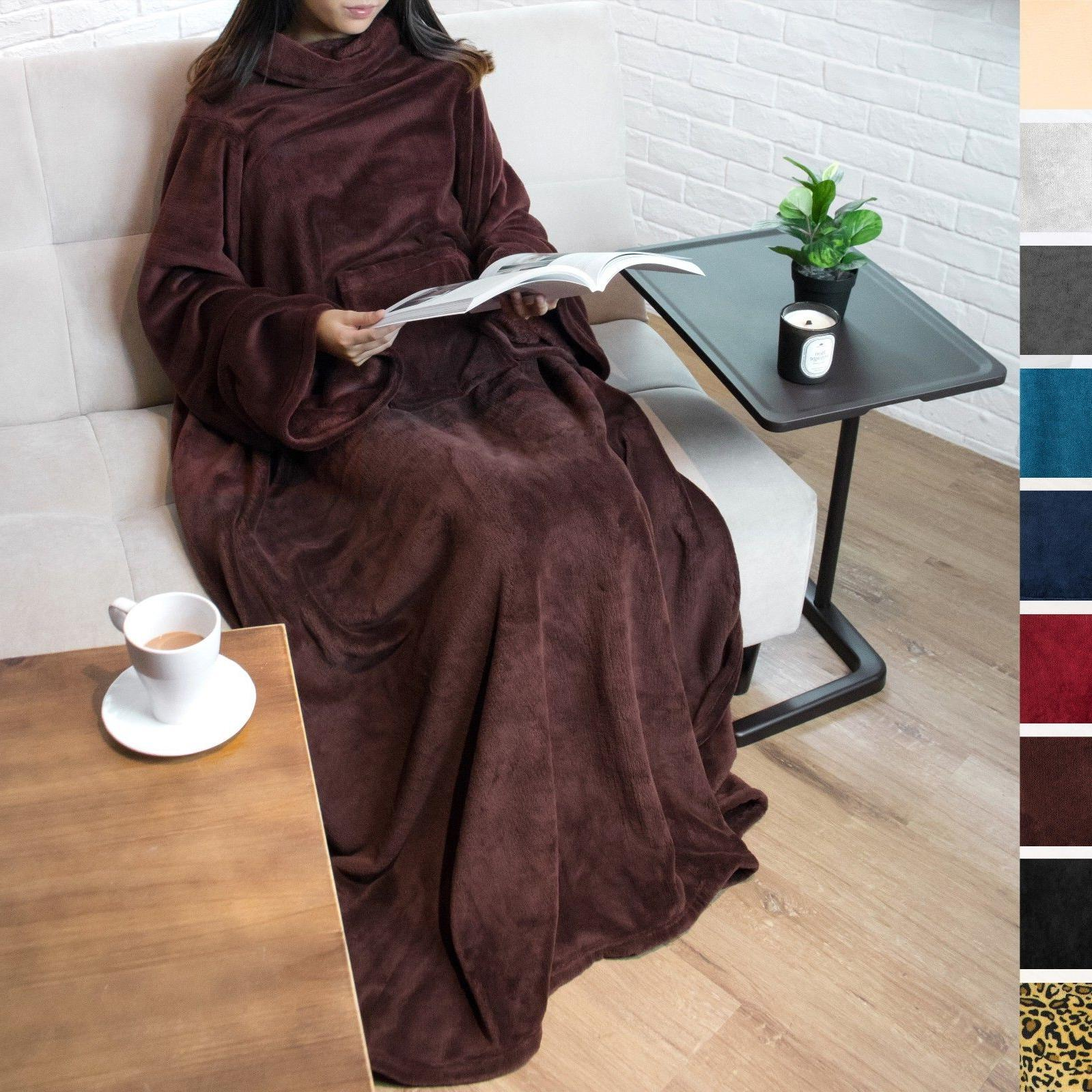 Fleece with Sleeves Pocket Snuggie