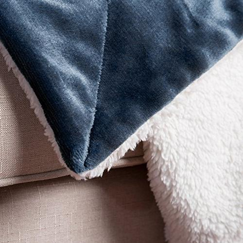 Bedsure Navy Size 90x90 Reversible Blanket for Bed and Couch