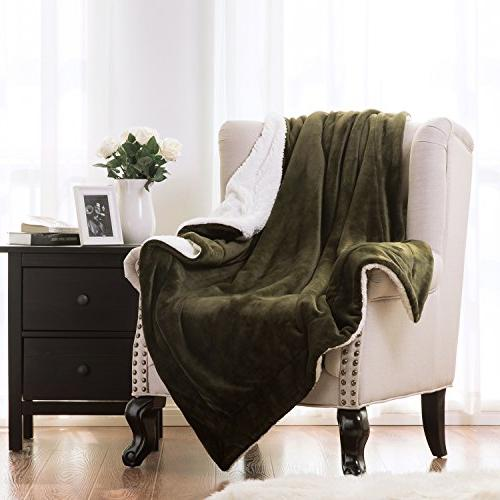 sherpa throw blanket olive green