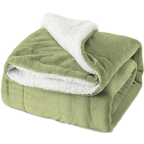 BEDSURE Sherpa Blanket Throw Sage Green Plush Blanket Soft