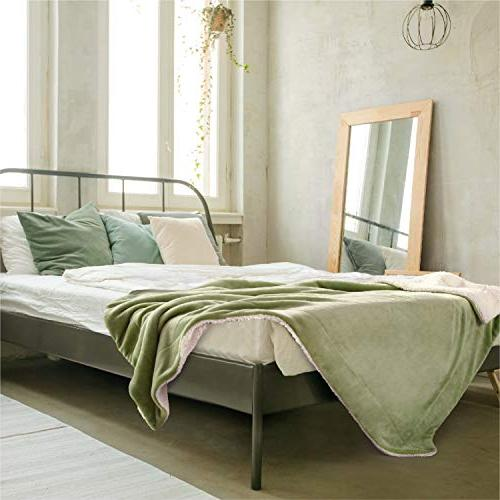 BEDSURE Throw Sage Green Plush Soft
