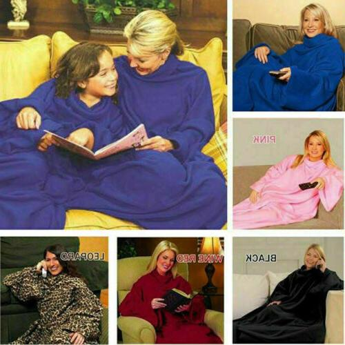 US Wearable Blanket with Sleeves Soft Fleece Snuggie Robe Cl