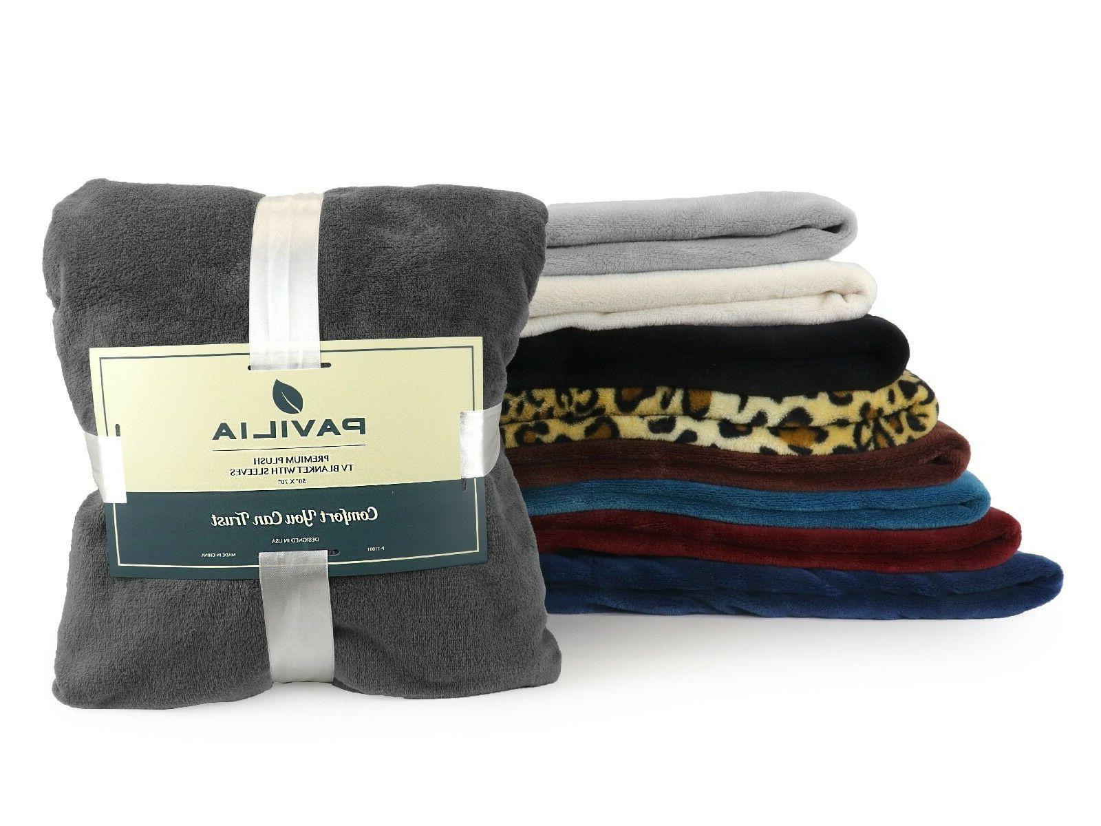 Soft Blanket with Sleeves and Robe Snuggie TV Blanket