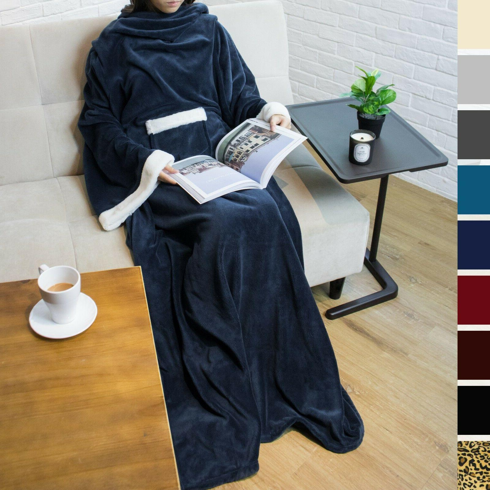 Soft Fleece Sleeves and Front Robe Cloak Blanket