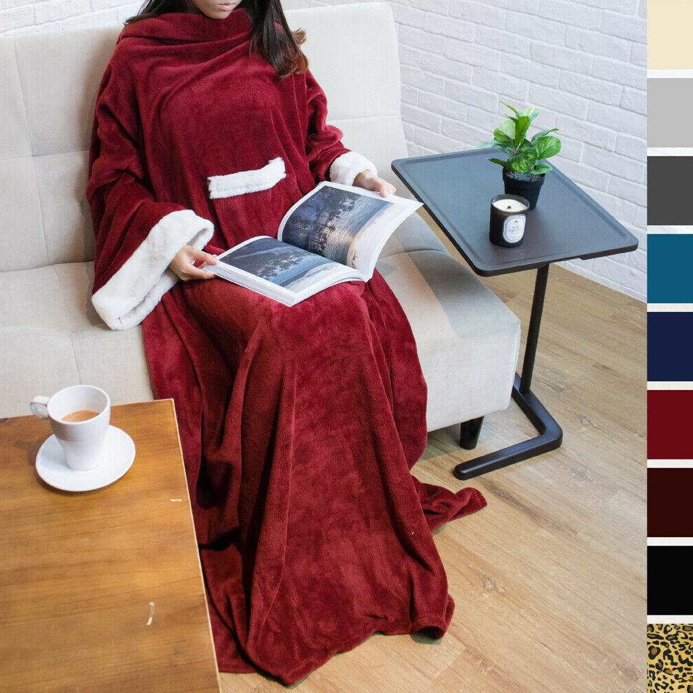 soft fleece blanket with sleeves and front