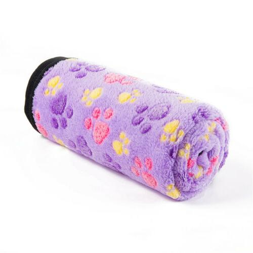 Soft Warm Blanket Small Paw Print Cat Puppy Bed Mat