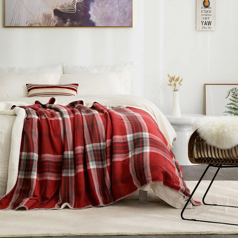Bedsure Soft Lightweight Plaid Sherpa Throw Blanket for