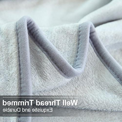 EASELAND Travel Cooling Warm Fuzzy Microplush Lightweight Blankets for by 61 Gray