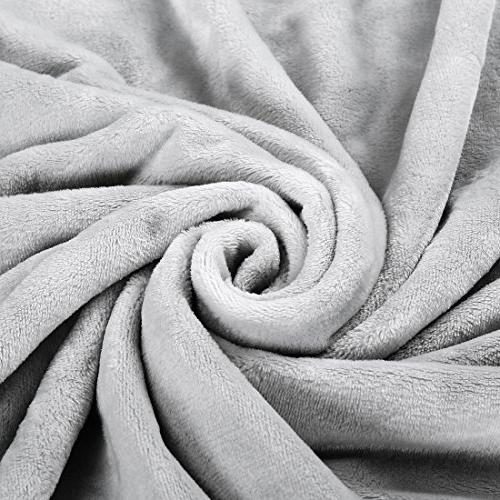EASELAND Super Soft Travel Size Blanket Cooling Warm Fuzzy Microplush Lightweight Blankets for Couch Bed Sofa,Throw,60 by 61 Inches,Silver