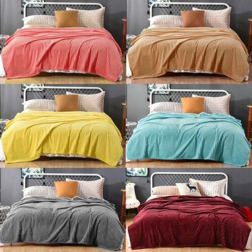 Flannel Blanket Reversible Faux Soft Sofa Bed Decor