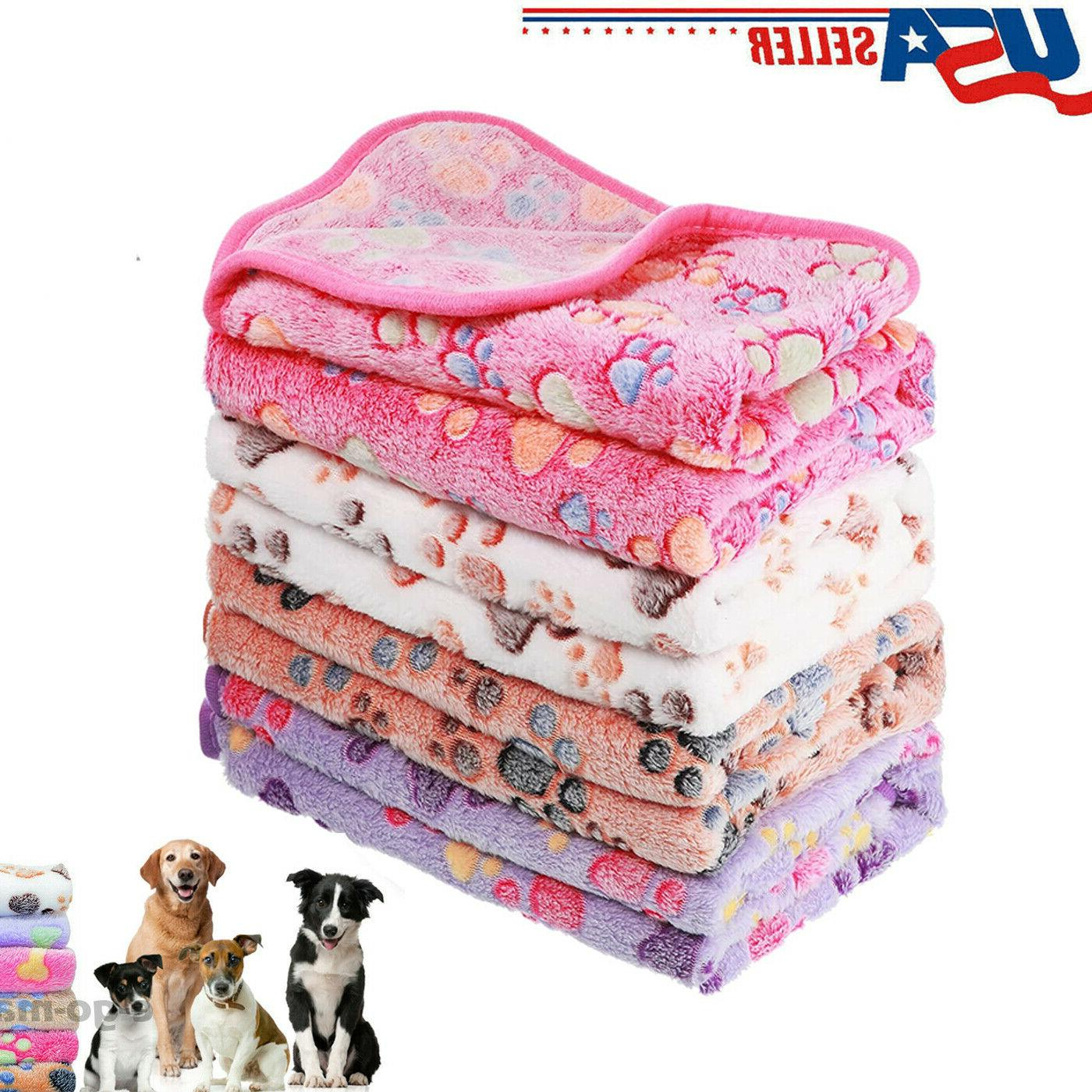 Soft Warm Fleece Lovely Design Paw Print Pet Blanket for Dog