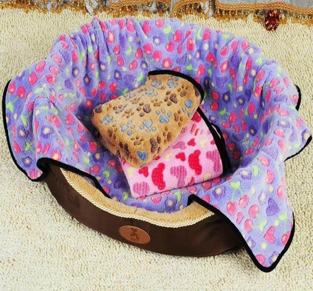 Soft Warm Fleece Lovely Design Paw Print Pet Blanket Dog Cat