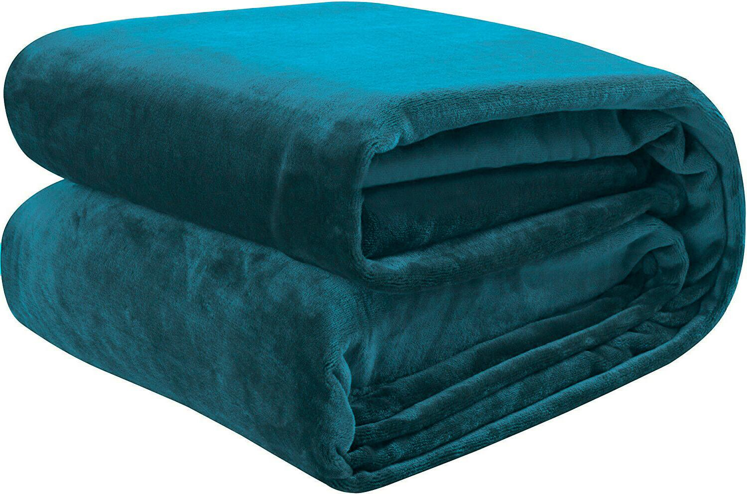 Solid Turquoise Plush Super Soft Reversible Fleece