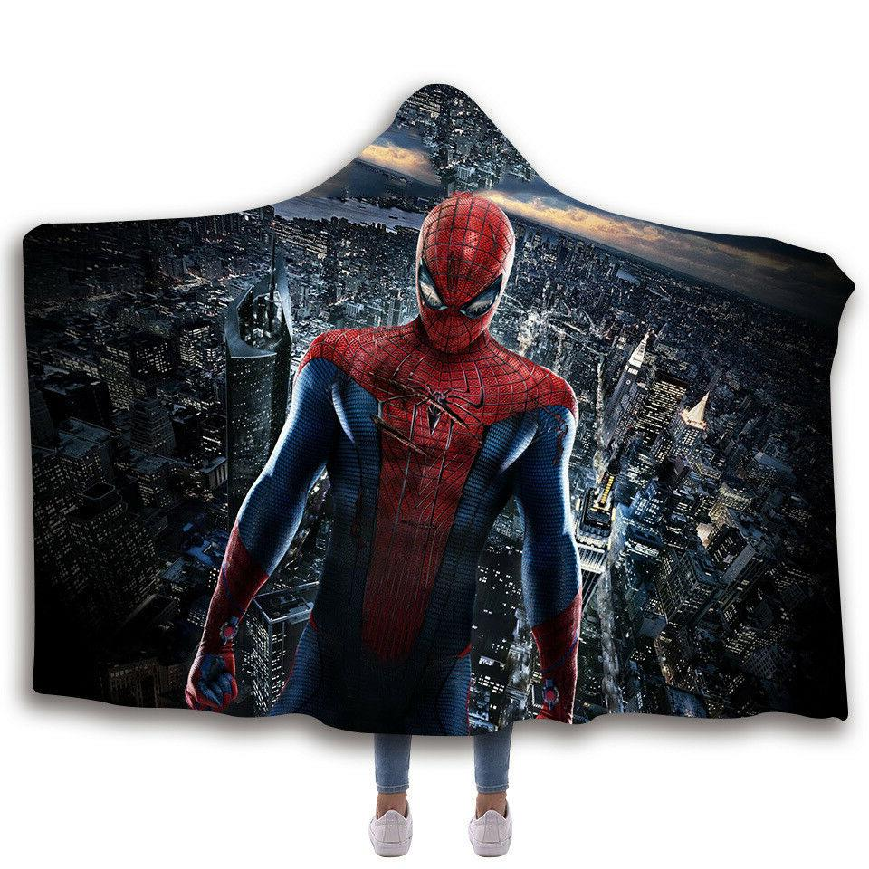 Spiderman Hooded Fleece Wearable Blankets Printing