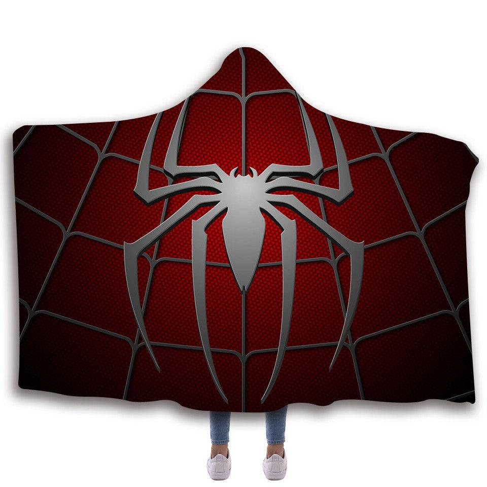 Spiderman Hooded Printing Blanket