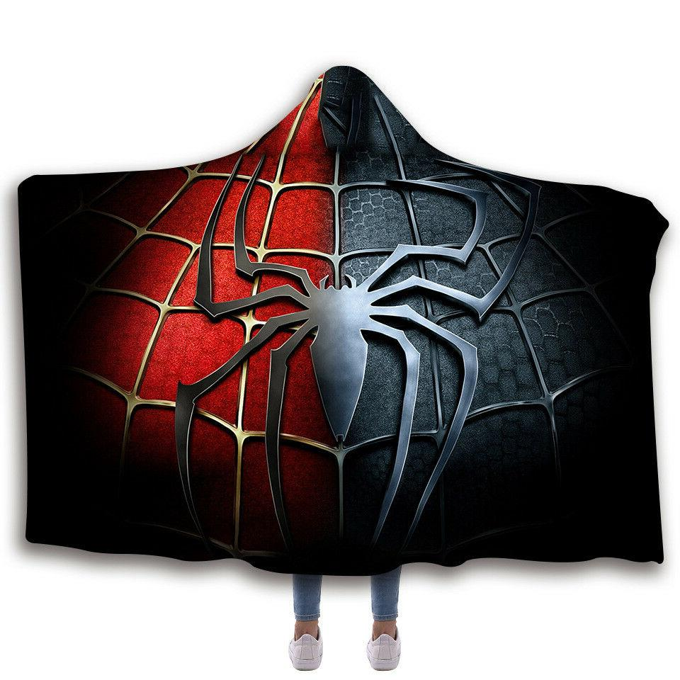 Spiderman Hooded Fleece Wearable Blankets Cloak 3D Printing