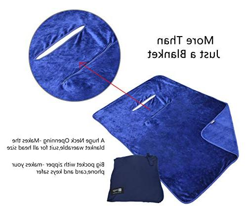 Napa Super Fleece TV Poncho Style, Wearable Throw Front Pocket Indoors Outdoors Office Stadium Travel Blue