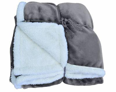 Mink Fleece Sherpa Bed Throw TV Reversible