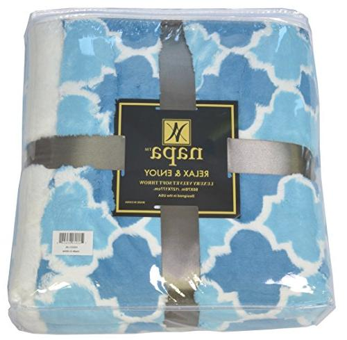 Napa Super Plush Light Blue x Reversible Fuzzy Bed All Blanket Bed